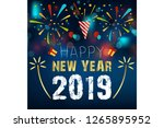 2019  happy new year. greeting... | Shutterstock .eps vector #1265895952