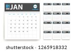 2019 calendar in paper stickers ... | Shutterstock . vector #1265918332