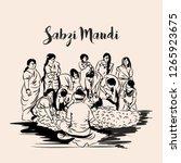 indian street sabzi mandi or...   Shutterstock .eps vector #1265923675