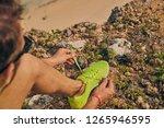 sportsman tying jogging running ... | Shutterstock . vector #1265946595