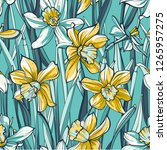 seamless floral pattern on blue ... | Shutterstock .eps vector #1265957275