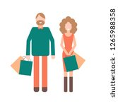 cartoon couple with shopping... | Shutterstock .eps vector #1265988358