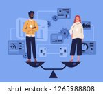 smiling man and woman standing... | Shutterstock .eps vector #1265988808