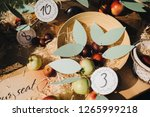 paper cards with numbers lie on ... | Shutterstock . vector #1265999218