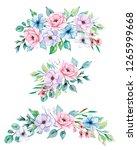 watercolor floral illustration  ... | Shutterstock . vector #1265999668