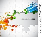 puzzle background with splashes.... | Shutterstock .eps vector #126602036