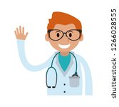 doctor greeting cartoon | Shutterstock .eps vector #1266028555