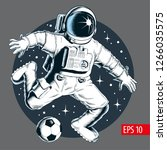 astronaut playing soccer or... | Shutterstock .eps vector #1266035575