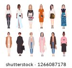 bundle of pretty women dressed... | Shutterstock .eps vector #1266087178