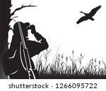 hunting for game birds. hunter... | Shutterstock .eps vector #1266095722