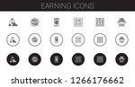 earning icons set. collection... | Shutterstock .eps vector #1266176662