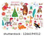 christmas forest animals set in ... | Shutterstock .eps vector #1266194512