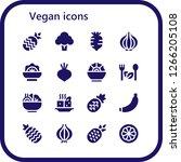vegan icon set. 16 filled... | Shutterstock .eps vector #1266205108