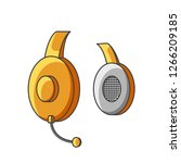 icon yellow headphone with...   Shutterstock . vector #1266209185