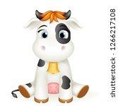 baby little cow cute 3d calf... | Shutterstock .eps vector #1266217108