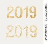 new year 2019. golden text with ...   Shutterstock .eps vector #1266220888