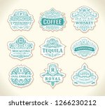 vintage black logos and emblems ... | Shutterstock .eps vector #1266230212