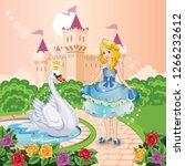 beautiful princess and swan in... | Shutterstock . vector #1266232612
