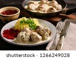 swedish meatballs  with creamy... | Shutterstock . vector #1266249028