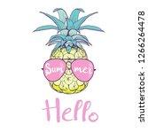 pineapple with glasses design ... | Shutterstock .eps vector #1266264478