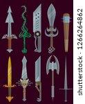 melee weapon set for computer... | Shutterstock .eps vector #1266264862