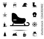 sled icon. simple glyph vector...
