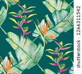 succulents and tropical leaves... | Shutterstock . vector #1266311542
