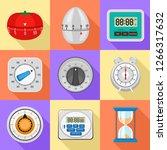kitchen timer icon set. flat... | Shutterstock .eps vector #1266317632