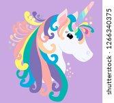 print cute unicorn on purple... | Shutterstock .eps vector #1266340375