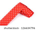 red ribbon with white polka dots | Shutterstock . vector #126634796