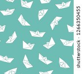 vector seamless origami pattern ... | Shutterstock .eps vector #1266350455