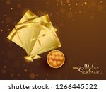 top view of shiny golden kites... | Shutterstock .eps vector #1266445522