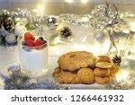 panakota with berries in a...   Shutterstock . vector #1266461932
