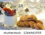 panakota with berries in a...   Shutterstock . vector #1266461935
