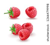 raspberry icons set. realistic... | Shutterstock . vector #1266479998