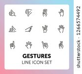 gestures line icon set. like ... | Shutterstock .eps vector #1266574492