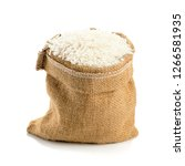 rice seeds in the burlap sack... | Shutterstock . vector #1266581935