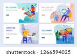 set of flat banners creative... | Shutterstock .eps vector #1266594025