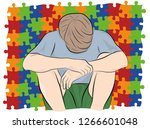 the child sits with his head... | Shutterstock .eps vector #1266601048