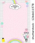 cute girlish daily planner... | Shutterstock .eps vector #1266611578