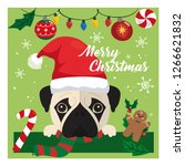 merry christmas  with a pug dog  | Shutterstock .eps vector #1266621832