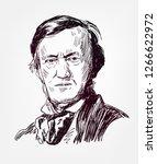Richard Wagner famous vector sketch portrait