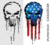graffiti skull with american... | Shutterstock .eps vector #1266638188