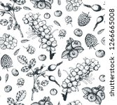 berry hand drawn seamless...   Shutterstock .eps vector #1266665008