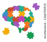 Stock vector brain puzzle vector color illustration isolated on white 1266703915