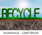 green grass in recycle word... | Shutterstock . vector #1266730165
