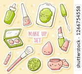 cute doodle cosmetics stickers. ... | Shutterstock .eps vector #1266754558