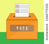 ballot paper inserted in the... | Shutterstock .eps vector #1266775102