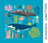 vector illustration with whales ...   Shutterstock .eps vector #1266777055