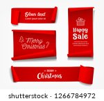 vector red roll paper merry... | Shutterstock .eps vector #1266784972